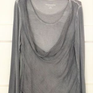 Soft Surroundings Silk Asymmetric Drape Front Top